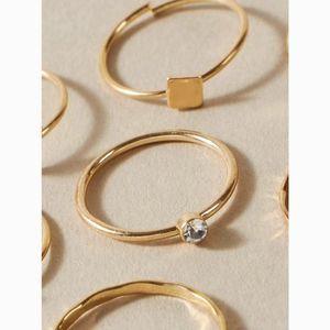 Milk + Tea Jewelry - Dainty Gold Midi & Knuckle Geometric Rings Set